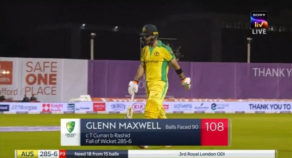 AUS VS ENG  Glenn Maxwell returning back to dugout after a superb inning