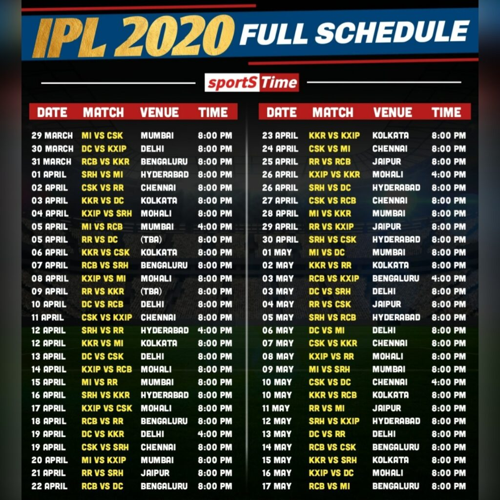 All you need to learn about IPL 2020! IPL 2020 is on the door and happening in UAE and Read full schedule