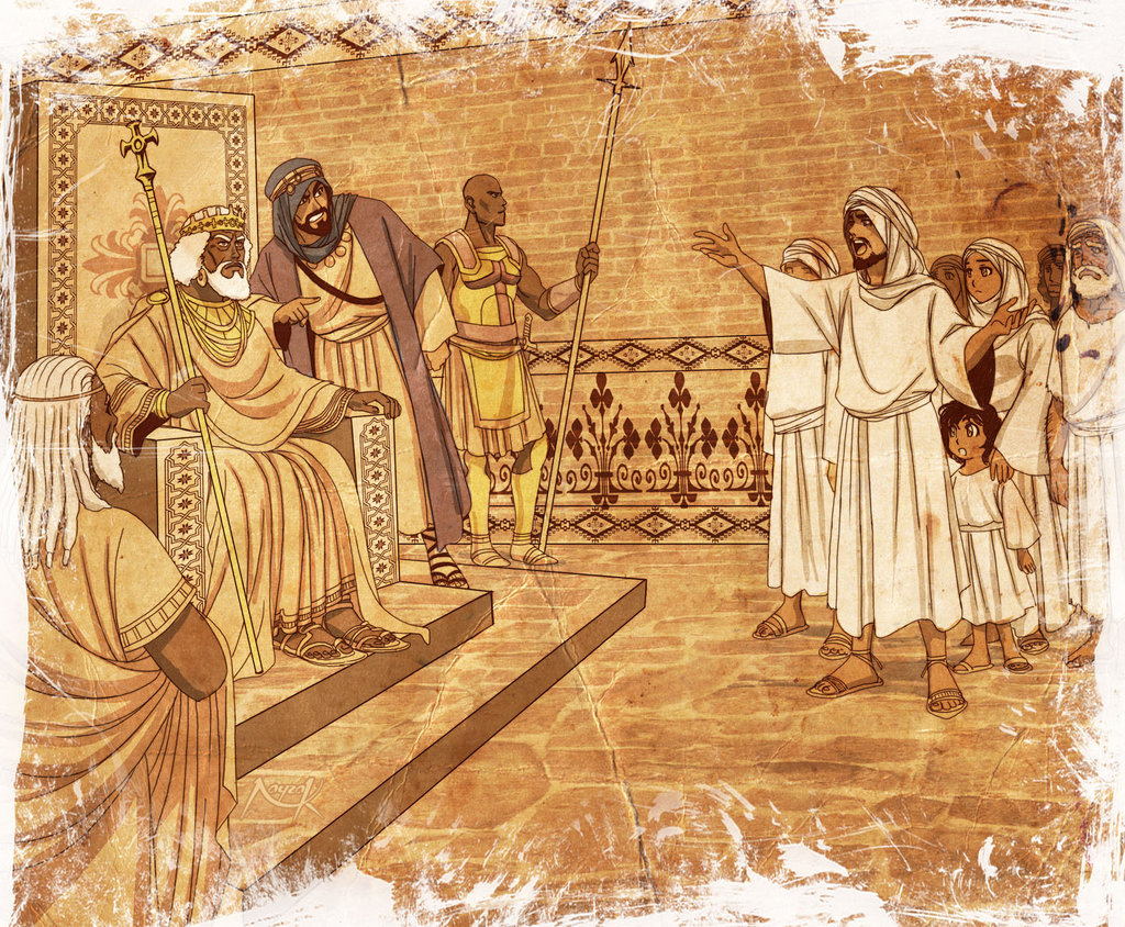 Najashi In his Court with the Muslim Refugees showing the dialogue of Najashi with Jafar  ibn Abi Talib.