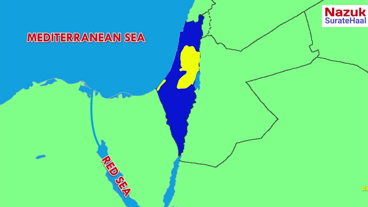 Suez canal with map of Israel and Palestine