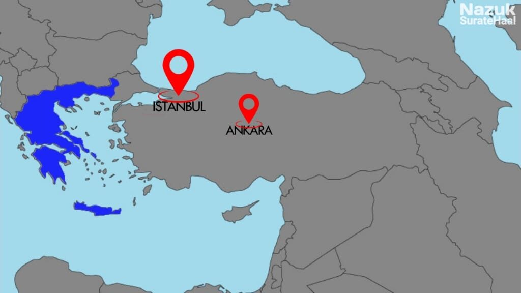 Istanbul is close to Greece, while Ankara is in the center of Turkey