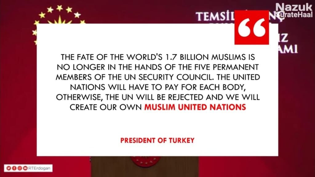 The united nations will have to pay for each body, otherwise, the UN will be rejected and we will create our own Muslim united nations.