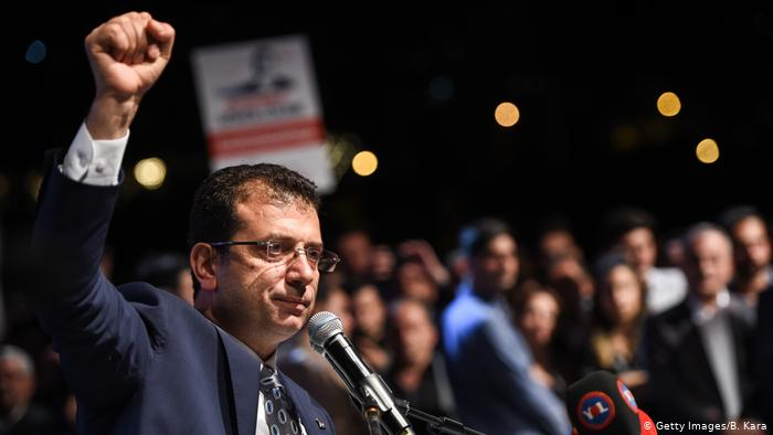 The image shows the mayor of Istanbul who is a strong critic of Istanbul Canal