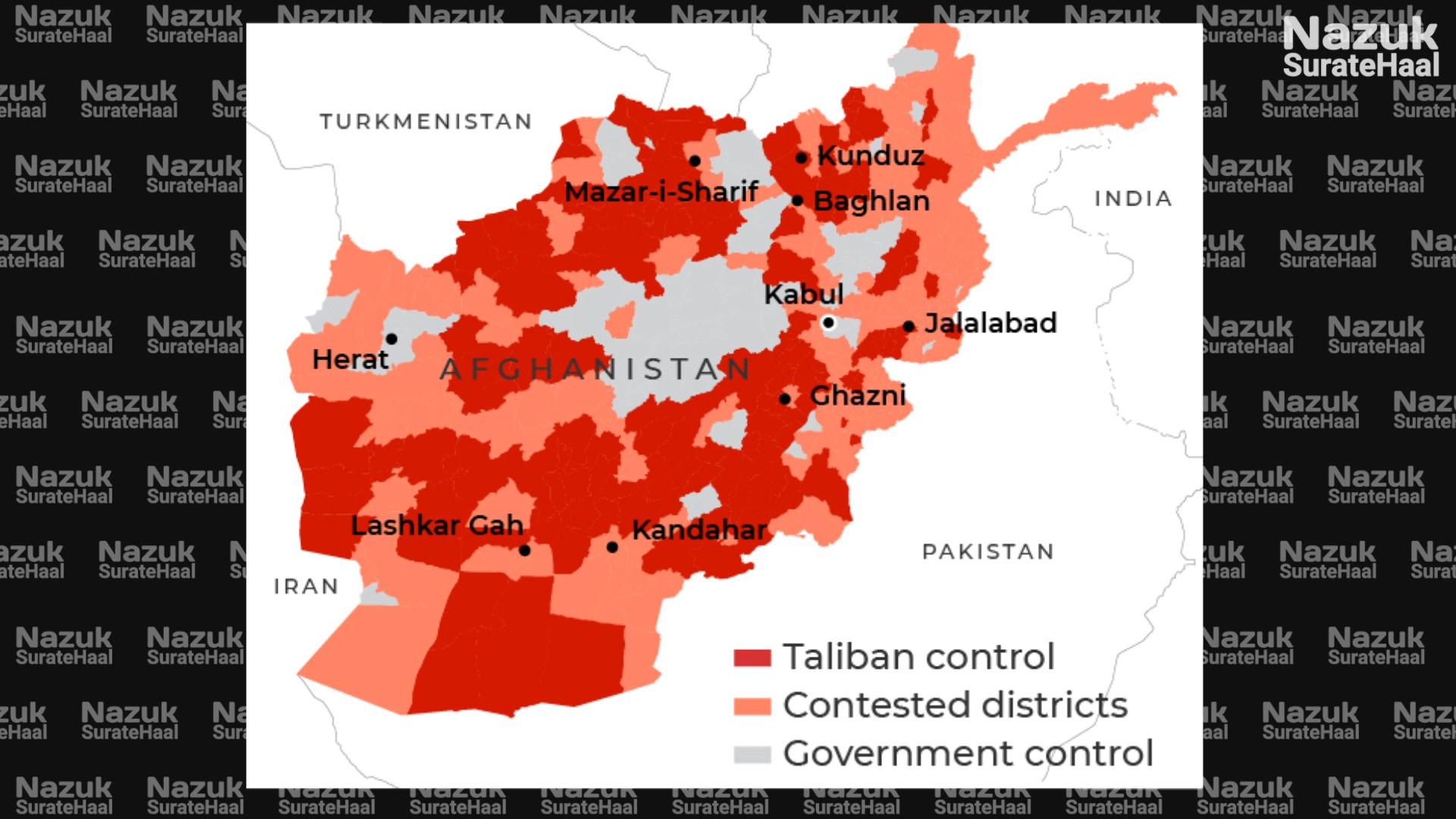 Areas controlled by Taliban in Afghanistan