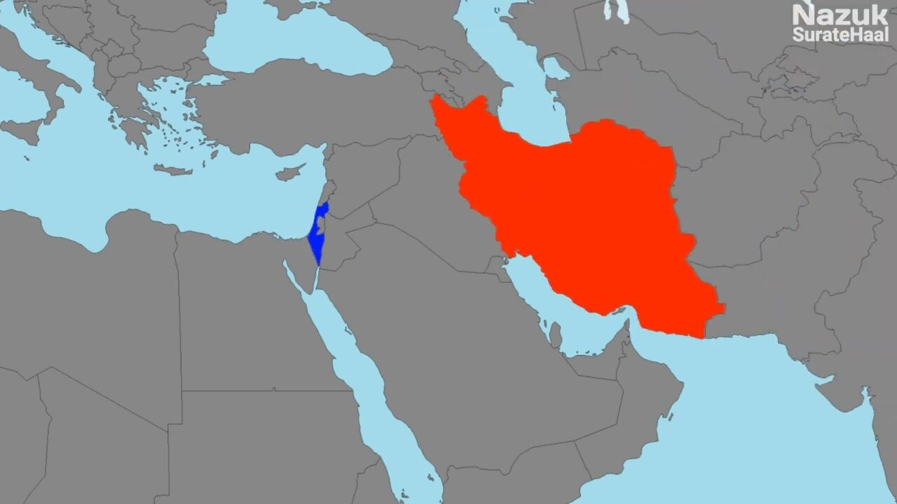 Location of Israel and Iran
