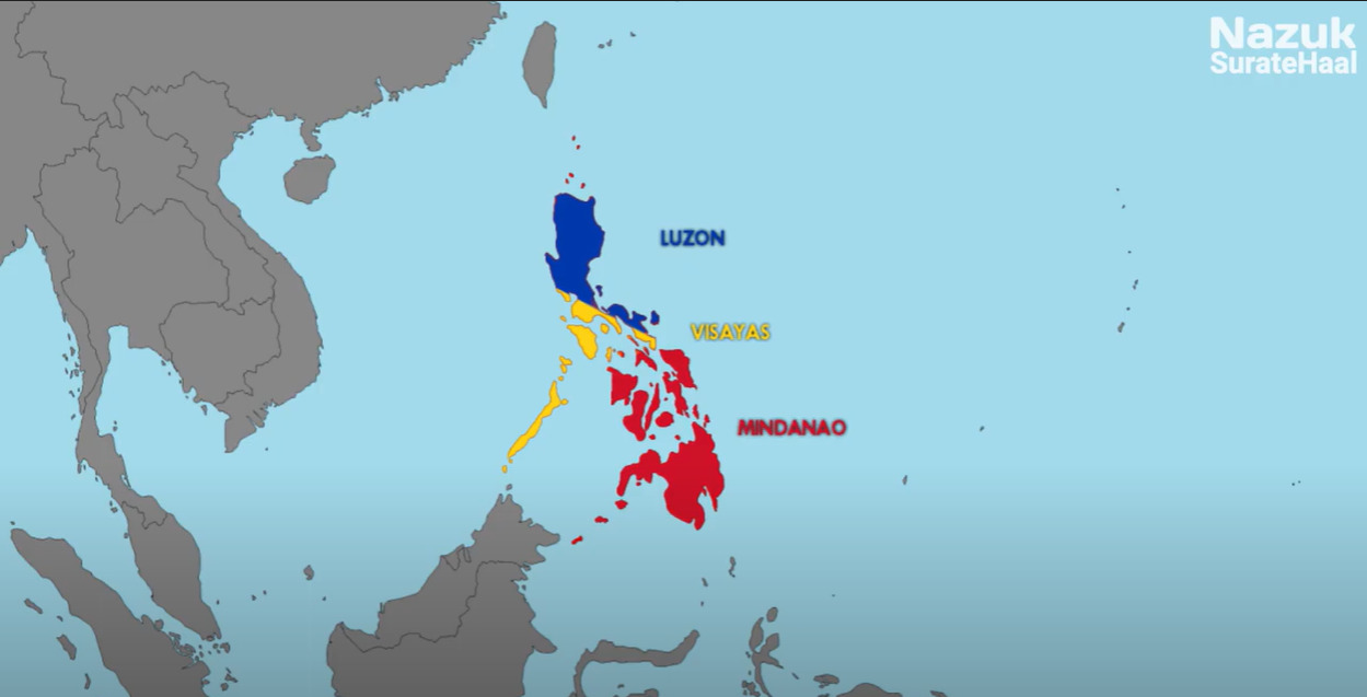 three main geographical divisions of Philippines from north to south: Luzon, Visayas, and Mindanao.