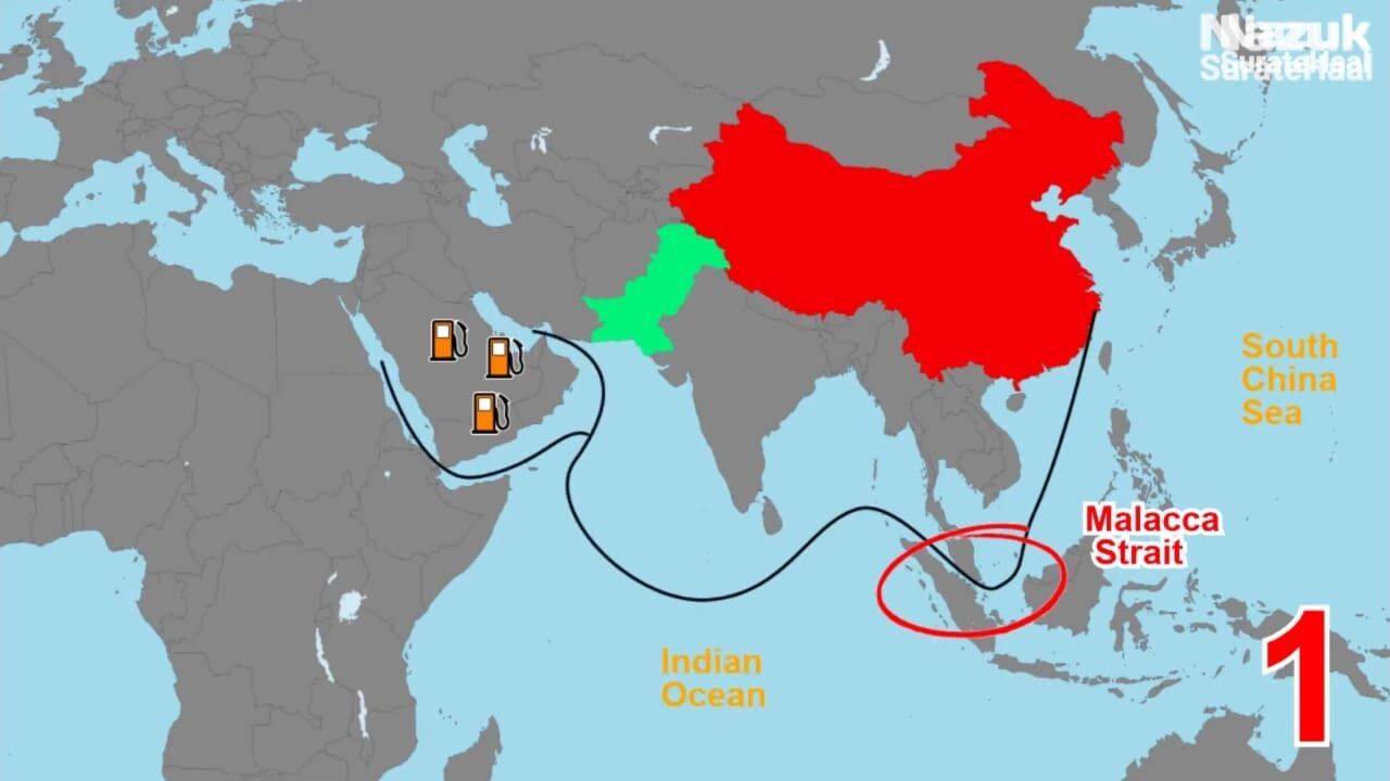 China trade route through Malacca Strait