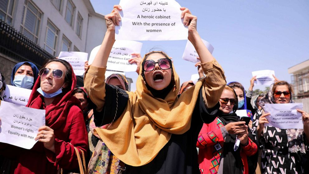 Women protest against the male-dominant official Taliban government 2021